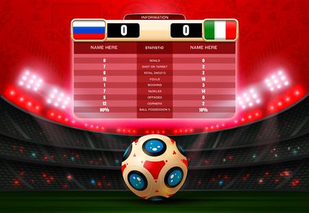 soccer football with scoreboard and spotlight vector illustration Illusztráció
