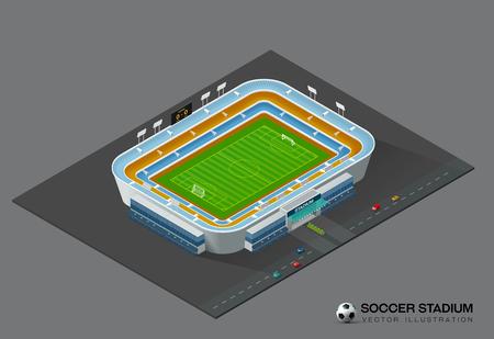 football soccer field stadium isometric vector illustration  イラスト・ベクター素材