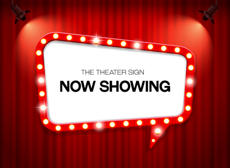 Theatre sign with now showing  on red  curtain Illustration