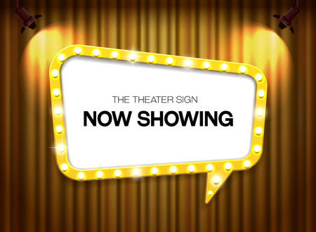theater sign on curtain background with spotlight vector illustration