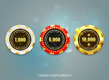 Conjunto de fichas de monedas de casino en la ilustración de vector de fondo bokeh