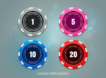 Jeu de jetons de pièces de casino sur illustration vectorielle fond bokeh Vecteurs