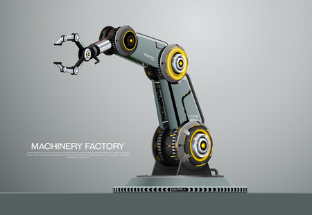 Industrial machine robotic robot arm hand factory vector illustration