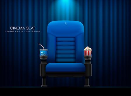 Cinema seat.Theater seat on curtain with spotlight background vector illustration Vettoriali