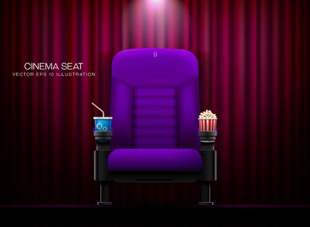 Cinema seat.Theater seat on curtain with spotlight background vector illustration Stock Illustratie
