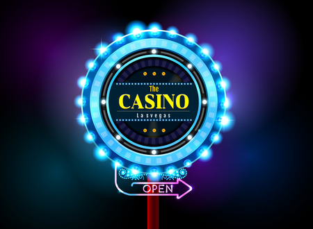 casino sign neon light outdoor vector illustration Stock Illustratie