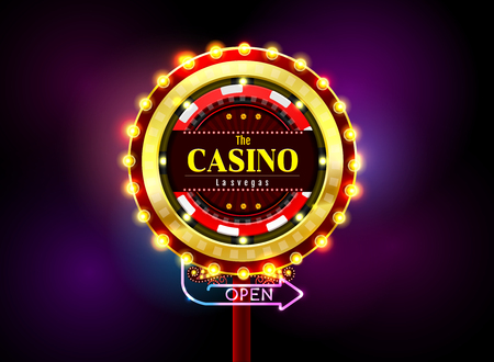 casino sign neon light outdoor vector illustration Stock Illustratie