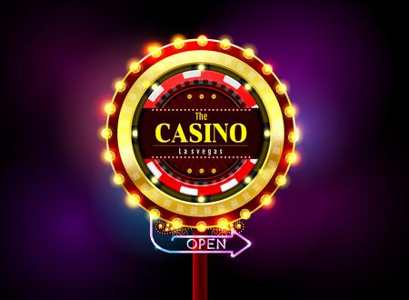 casino sign neon light outdoor vector illustration Illustration