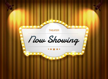 signe de théâtre sur rideau avec illustration vectorielle de projecteur Vecteurs