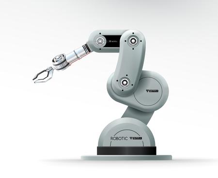Industrial machine robotic hand arm machinery factory vector illustration Stock Illustratie