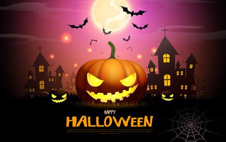 halloween pumpkin fullmoon horror background