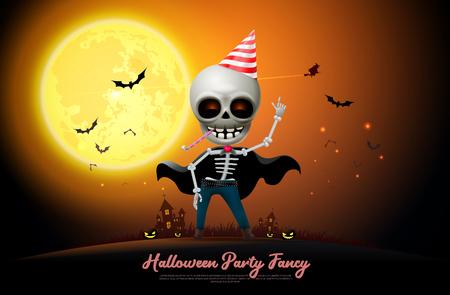 halloween night full moon party fancy vector illustration