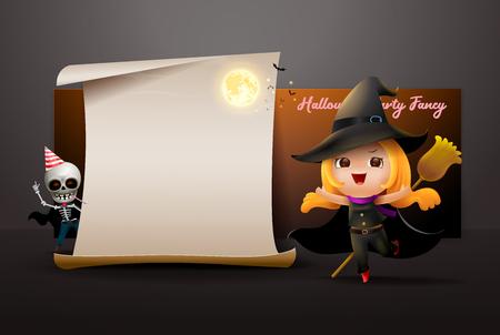 halloween night full moon party fancy invitation card vector illustration