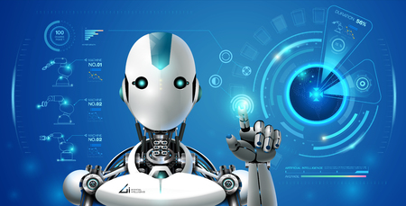 robot artificial intelligence technology smart lerning hologram interface monitor by ai technology industrial 4.0 control Stock Illustratie