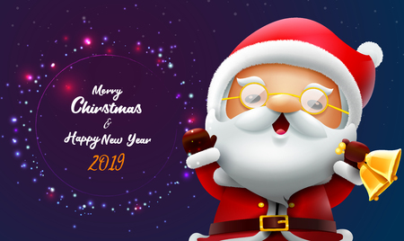 merry christmas and happy new year card with santa claus  vector illustration