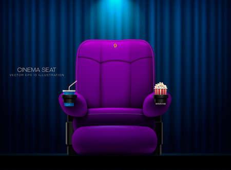 Cinema seat Theater seat on curtain with spotlight background vector illustration