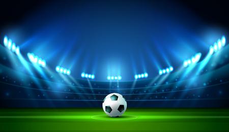 soccer football stadium spotlight and scoreboard background with glitter light vector