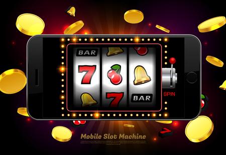 lucky slot machine casino on mobile phone with light background vector illustration Stock Illustratie
