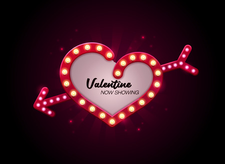 valentine love theater sign style vector illustration