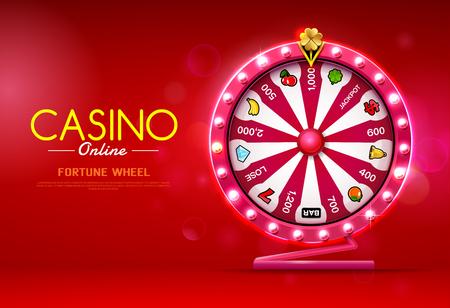 fortune wheel spinning  casino online on bokeh background vector illustration Stock Illustratie