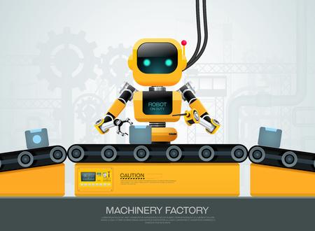 robot macchina tecnologia di intelligenza artificiale intelligente industriale 4.0 controllo illustrazione vettoriale Vettoriali