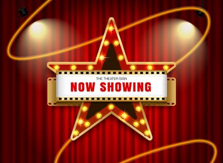 Theaterschild Sternform auf Vorhang