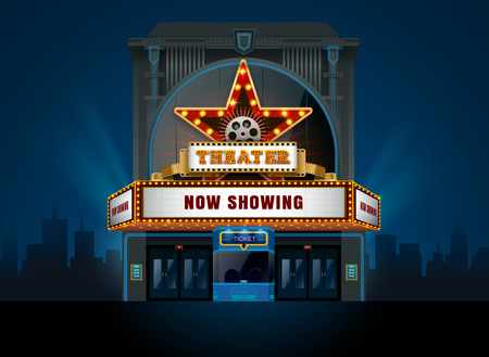 theater cinema building vector easy to change color and object Ilustração