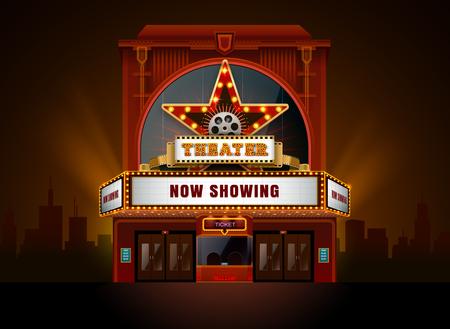 Theaterkino-Gebäudevektor einfach Farbe und Objekt zu ändern