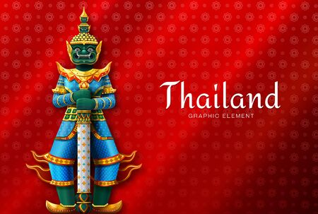 Thailand art Thai Temple Guardian Giant vector illustration 写真素材 - 129273317