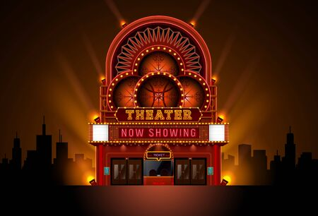 theater cinema building theater cinema building high detail vector illustration easy to change color and object