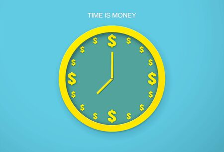 The clock time is money business time vector illustration
