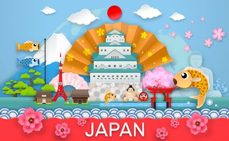 japan travel place and landmark object paper cut origami style Vector Illustration