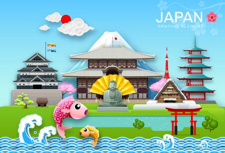 japan landmark travel object paper cut origami style vector illustration