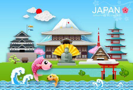 japan landmark travel object paper cut origami style vector illustration