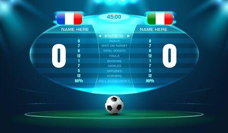 soccer football stadium spotlight and scoreboard background with glitter light hologram vector illustration Иллюстрация