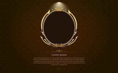 Cadre doré cercle frontière photo et motif or art thaï art thaï illustration vectorielle