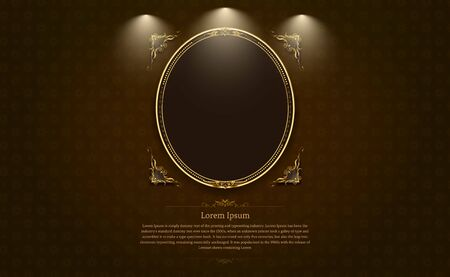 gold frame circle border picture and pattern thai art vector illustration