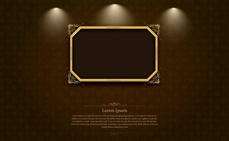 gold frame border picture and pattern thai art vector illustration Иллюстрация