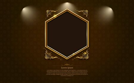 gold frame border octagon picture and pattern thai art vector illustration