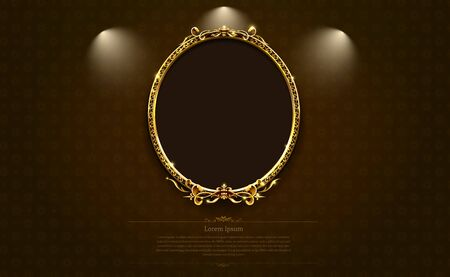 gold frame border picture retro art vector illustration