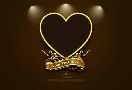 gold frame border retro picture valentineart vector illustration