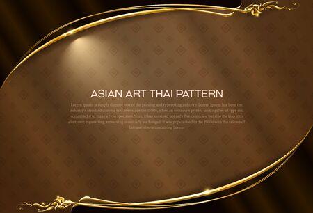 Asian pattern background Thai art  frame border vector illustration Иллюстрация