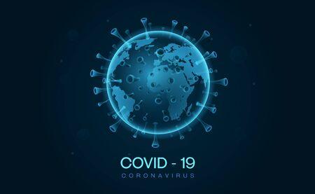 covid 19 corona virus outbreak earth 3d style vector illustration