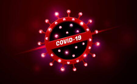 covid-19 coronavirus neon glow light  warning vector illustration