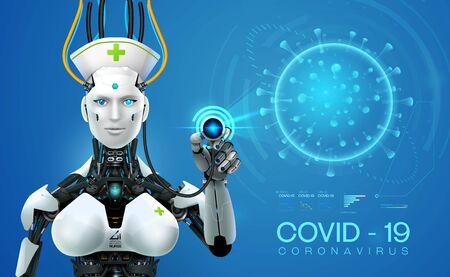 ai robot mediic with corona virus covid 19covid analysis outbreak on earth 3d style vector illustration