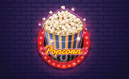 light sign popcorn brickwall background vector illustration Иллюстрация