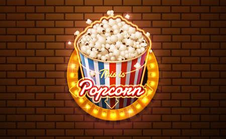 light sign popcorn brickwall background vector illustration Vettoriali