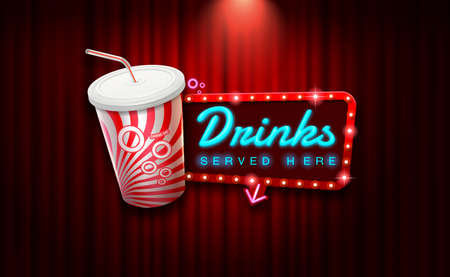 light sign beverage on curtain with spotlight background vector illustration
