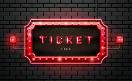 light neon sign ticket on brick wall background vector illustration