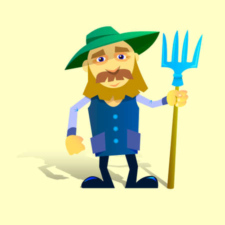 stereotypical: vector illustration cartoon farmer